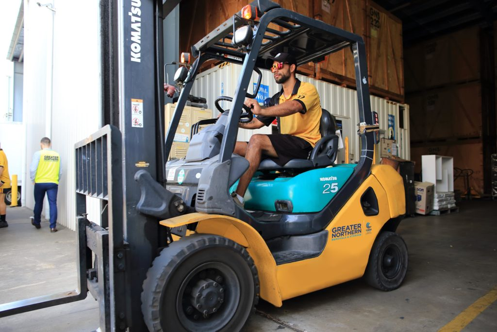 Greater Northern Removals and Storage forklift in Cairns Depot